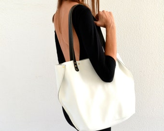 White leather tote bag / White shoulder bag / White leather satchel / White handbag / Black and white bag