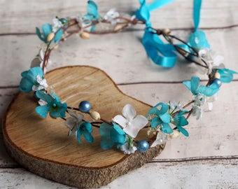 Blue Bridal Crown, Flower Girl Halo, Blue Head Piece, Blue Floral Crown, Blue Flower Hair Piece, Blue Hair Crown, Blue Hair Halo