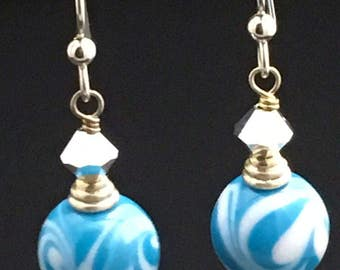 Turquoise Feathered Glass & Crystal Earrings