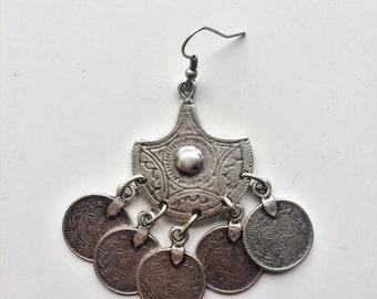 Coin Silver Plated Earrings, Handmade Jewellery, Boho