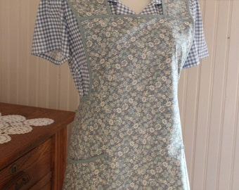Blue Calico Vintage Style Apron -Ready to Ship