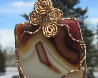 Agate  Square Focal , pendant wrapped in Bronze  wire
