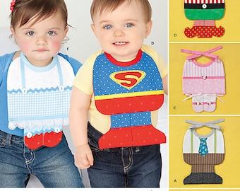 UNCUT Simplicity 2206 or 0419 Baby Bib Craft Sewing Pattern - Newborn, Superman, Halloween, Elf, Christmas, Dorothy, Ballerina