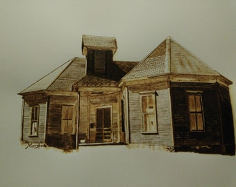 Woodburn art Old Methodist church building, Mingus Texas BURNED on paper pyrography framed wall art