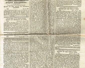 Antique vintage ephemera original Georgian 1821 Evans and Ruffys Farmers Journal and Agricultural Advertizer newspaper