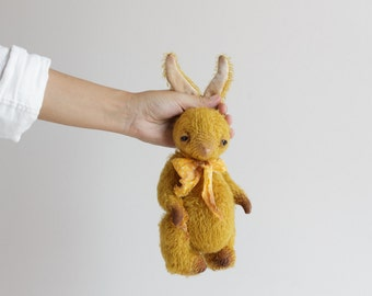 Made to order Handmade Plush Animal Gold Mohair Bunny Stuffed Rabbit Yellow Silk Bowl Soft Toy Easter Gift For Her Free Shipping 9 Inches
