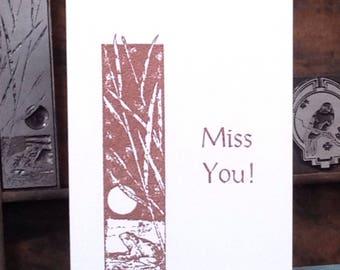 FROG, Miss You, Copper, Embossed Card, Handmade, White, Folded Card, Envelope, Blank Inside, Message Inside