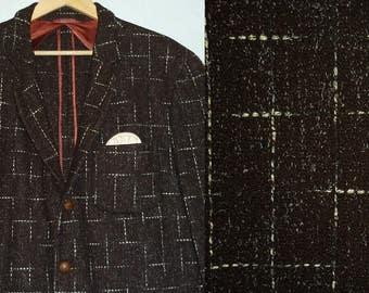 1950s Sport Coat / 43 - 44 / L - XL / Flecked / Rockabilly / Atomic / Wool / 1950s Jacket / Vintage 1950s Mens Clothing / Tweed Sport Coat