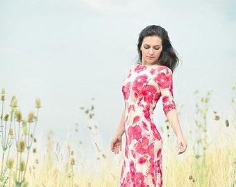 ON SALE Maxi Dress, Jersey Dress, Floral Dress, Poppy priint