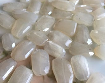 pearl chalcedony nuggets beads large milky white step cut faceted center drilled lengthwise jewelry stone gemstone, 4 pcs