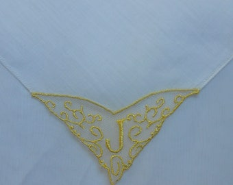 J Monogram Golden Yellow Embroidery and Lace Handkerchief Wedding Hanky Vintage White Linen Hemstitching Something Old Gift Hankie Letter J