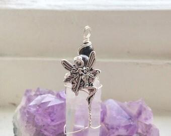 Lemurian Quartz Pendant, Fairy Pendant, Silver Wire Wrapped Lemurian Quartz Crystal