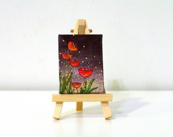 Flower paintings acrylics small Mini acrylic painting of poppy - original painting of red poppies - floral painting flowers canvas art