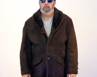 60s Brown Suede Coat, Suede Truckers Coat, Schott Brothers Coat, Brown Leather Coat, Faux Shearling Coat, L