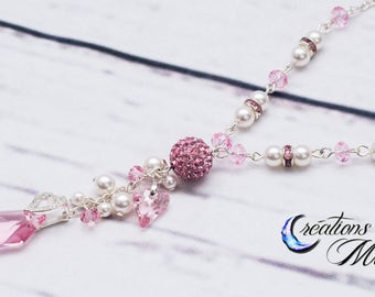 Swarovski, Necklace, Pearl necklace, crystal necklace, pink necklace, pink, De-Art , white pearl, pearl, Swarovski De-Art
