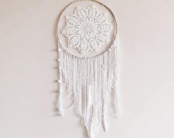 White dream catcher, boho dreamcatcher, large, crochet doily, bedroom decor, wall hanging, handmade, unique, home decor, boho style, wedding