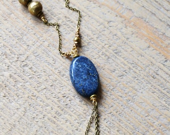 Sale - Lapis lazuli necklace, boho jewelry, drop necklace, long necklace, modern jewelry, bohemian, gift for her