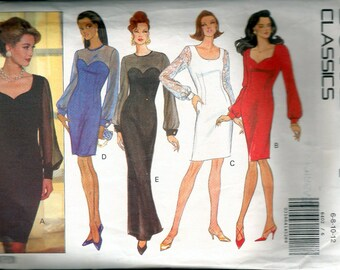 "Vintage 1992 Butterick 6402 Misses Petite Dress :Sheer Sleeves Sewing Pattern Size 6-8-10-12 Bust 30 1/2""-31 1/2""-32 1/2""-34"""