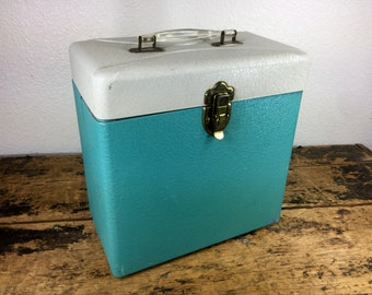 Turquoise Gray Metal File Box Storage Container