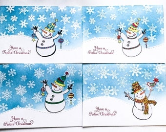 Cute Snowman and snowflakes Christmas cards - kids Christmas cards - handmade - hand stamped - Wcards