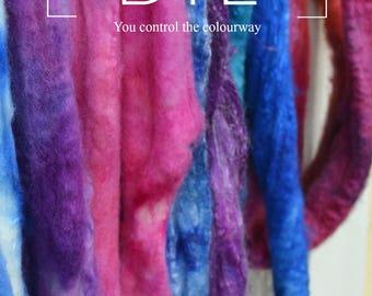 DYE Fiber Hand Dyeing Book - Dyeing Spinning Fiber (Handpainted & Kettle) Tutorial - Fiber Prep Pattern