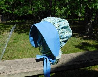 Two-tone, blue flower bonnet, Amish bonnet, mennonite, modest dress, woman head covering, pioneer trek, prairie bonnet, quaker bonnet,custom