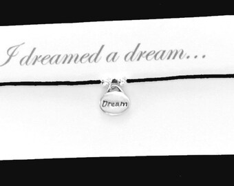 Les MISERABLES themed friendship bracelet on waxed cotton cord OR Silver Plated Key Ring OR Silver Plated Necklace