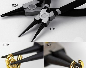 Open or Close the knot of chain, Round Nose Pliers Tool for Jewelry Making and Crafts, long jaw, rubber grip, spring actionT021