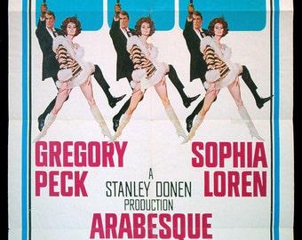 SOPHIA LOREN original 1966 movie poster Arabesque with Gregory Peck