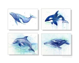 Nursery Wall Art Decor Sea Creatures Nursery Art Prints Animal Watercolor Painting Set of 4 Prints, Ocean Art Humpback Whale Dolphin Orca