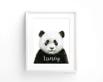 Animal Wall Art baby panda watercolor panda art print panda nursery wall art