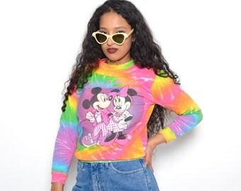 Vintage 80's Rainbow Tie Dye Mickey Mouse SweatShirt Sz XS