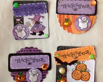 Trick or Treat Halloween Cardmaking Toppers Embelishments Scrapbooking Spooky Pumpkins Witches Ghosts