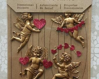 CUPID STICKERS, Valentine Stickers, Victorian Valentine, Cherub Stickers, Vintage Valentine Stickers, Jolees Boutique Stickers