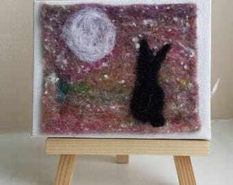 Moonlit Hare miniature needle felt picture