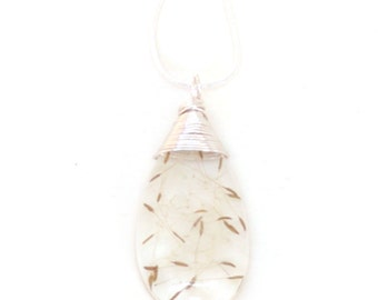 Dandelion Seed Necklace - Real Seeds Encased in Resin - Pressed Flower Jewelry - Wire Wrapped Pendant - Resin Jewelry - Teardrop Pendant