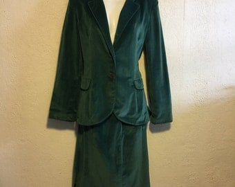 I Magnin, Patty Woodard Vintage Teal Green Velvet Jacket & Skirt Set