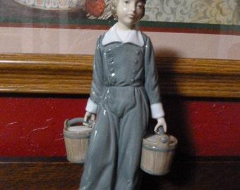 Lladro Dutch Boy Holding Milk Buckets Figurine # 4811