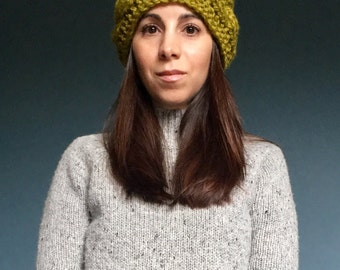 THE EMMA // Chunky Cable Knit Ear Warmer Headband in Lemongrass // Warm Winter Accessory // Wool Blend // Ready to Ship!
