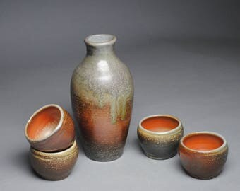 Sake Whiskey Set Wood Fired with Four Cups G56