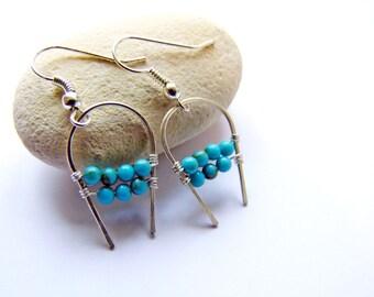 Turquoise Earrings, Crescent Earring, Blue Earrings, Boho, Wire Wrapped Earrings, Silver Dangles, Gemstone Earrings, Gifts for Her, Gift