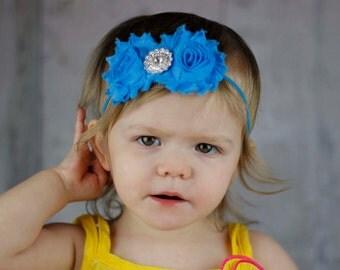 Baby Headband, Infant Headband, Newborn Headband Toddler Headband, Shabby Chic Headband, Bright Blue Rosettes, Electric Blue Headband