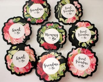 Party Name Tags Pins, Bachelorette Mommy to Be Pin, Baby Shower Pins, Custom Name Tags, Floral Baby Shower, Party Favors