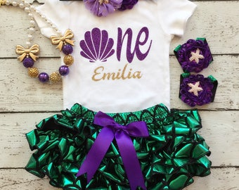 Mermaid Birthday outfit/Little mermaid/1st Birthday outfit/Cakesmash/Under the sea/Seashell ONE/First Birthday/Birthday Bloomer