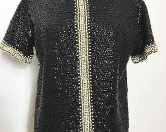 Fabulous 1960s Black Sequin and White Beaded Top - Medium to Large