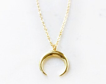 Keao necklace - gold moon necklace, gold horn necklace, gold crescent necklace, gold tusk necklac