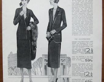 Debenham and Freebody, 1931, vintage, ad, original, suit, fashion, English, advertisement, free shipping, paper, ephemera