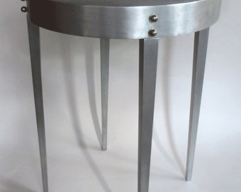 Art deco style style round side table - cast aluminum