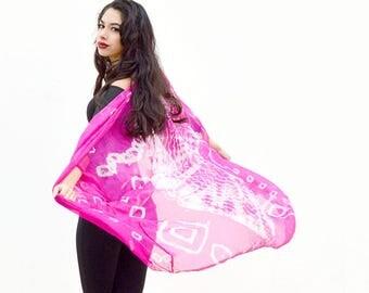 pink silk kimono, boho kimono jacket, tie dye jacket, indian kimono, bohemian hippie spring jacket, open jacket, festival coverup beach