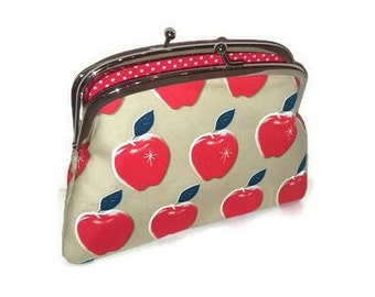 Unique coin purse, Apple kiss lock frame wallet beige and red polka dots - kitsch pouch, 2 compartments, dual sections